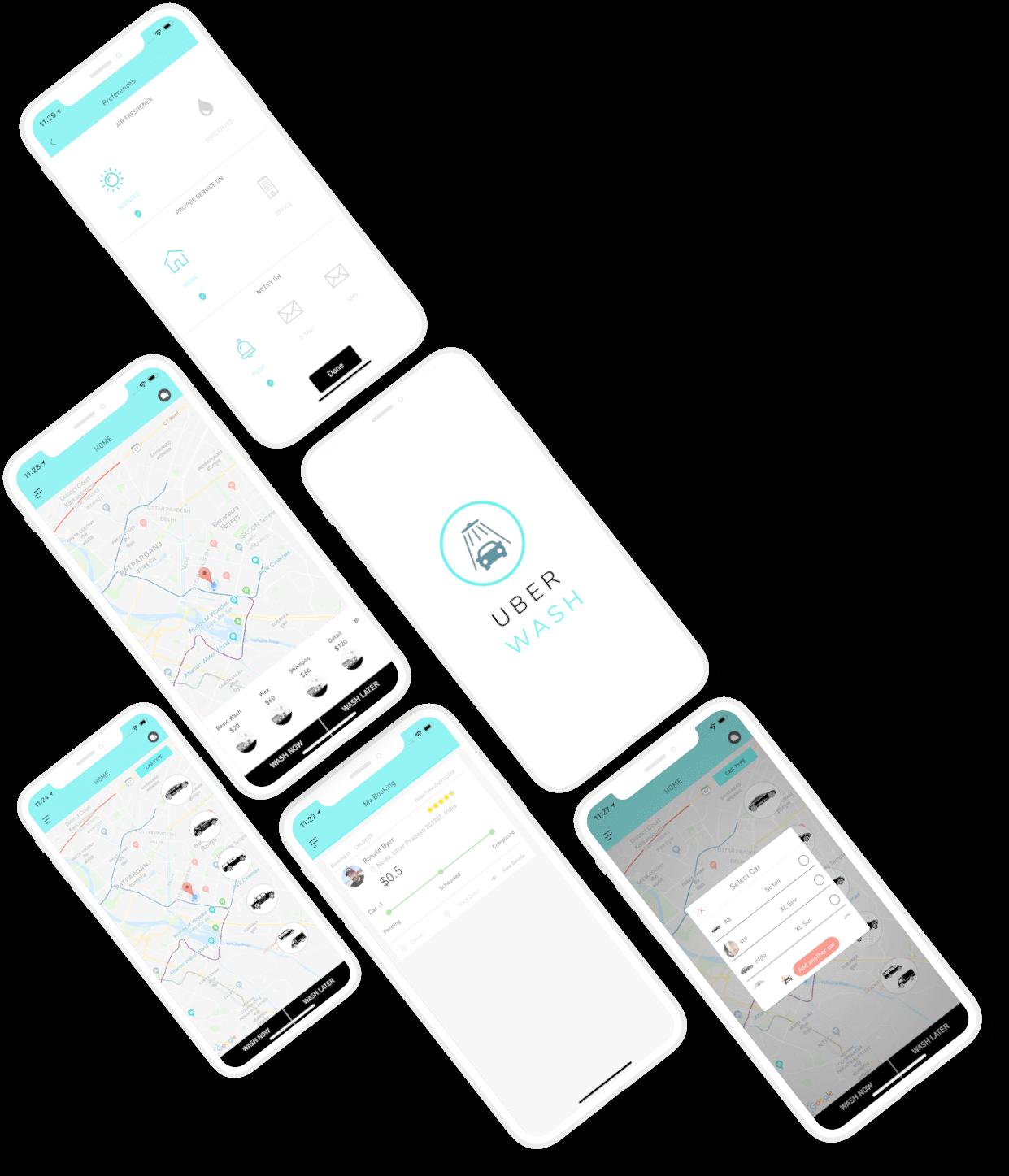 Uber Wash App Mockup
