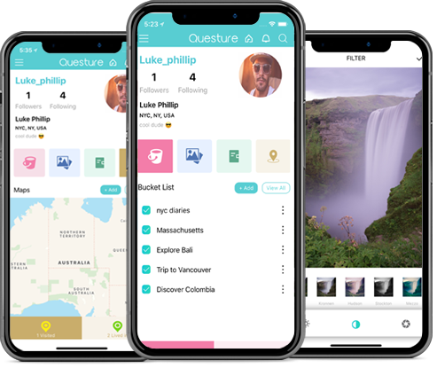 Questure - Travel based Apps Landing image