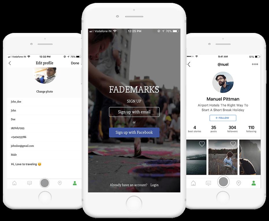 Fademarks - Social Networking App. Landing image