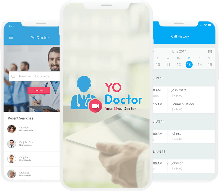 YO Doctor App - On Demand Video Call App between Doctor and Patient. Landing image
