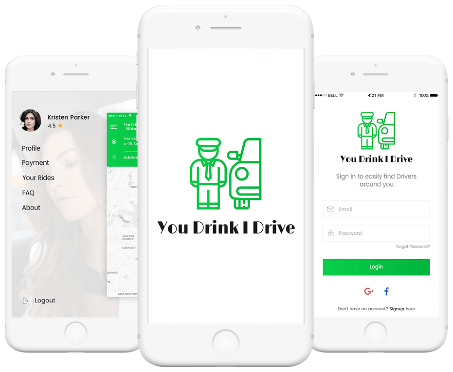 You Drink I Drive -  This app offers an ultimate personalized driving experience, letting you book yourself a driver anytime, anywhere. Next time, you go for a party and get high, why bother to drive and take the risk when booking a driver is as easy as pie Landing image