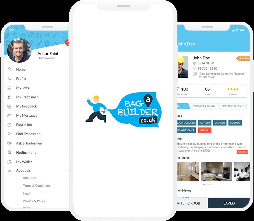 Bag A Builder - On Demand Local Service App for UK Landing image