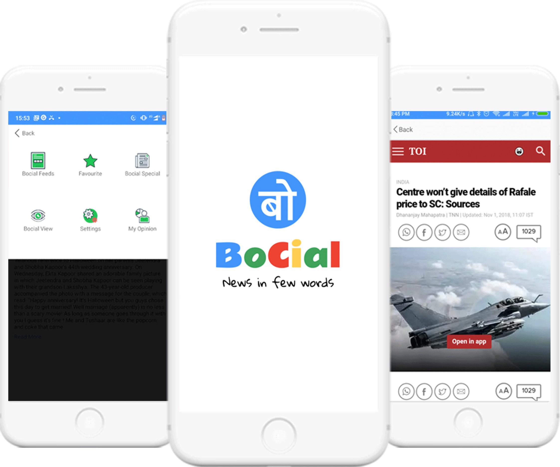 Bocial - News App Landing image