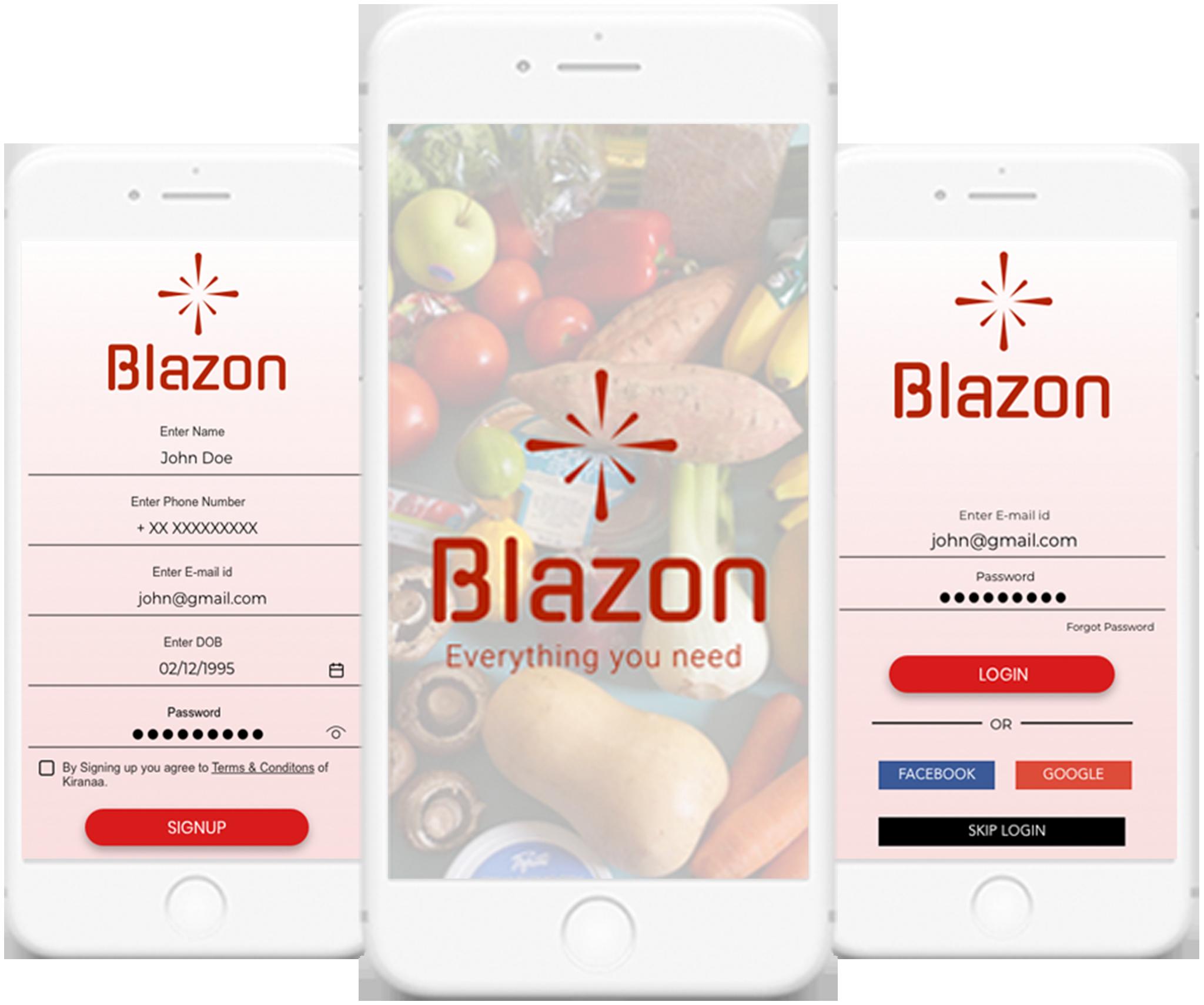 Blazon - Grocery Ordering Platform Landing image